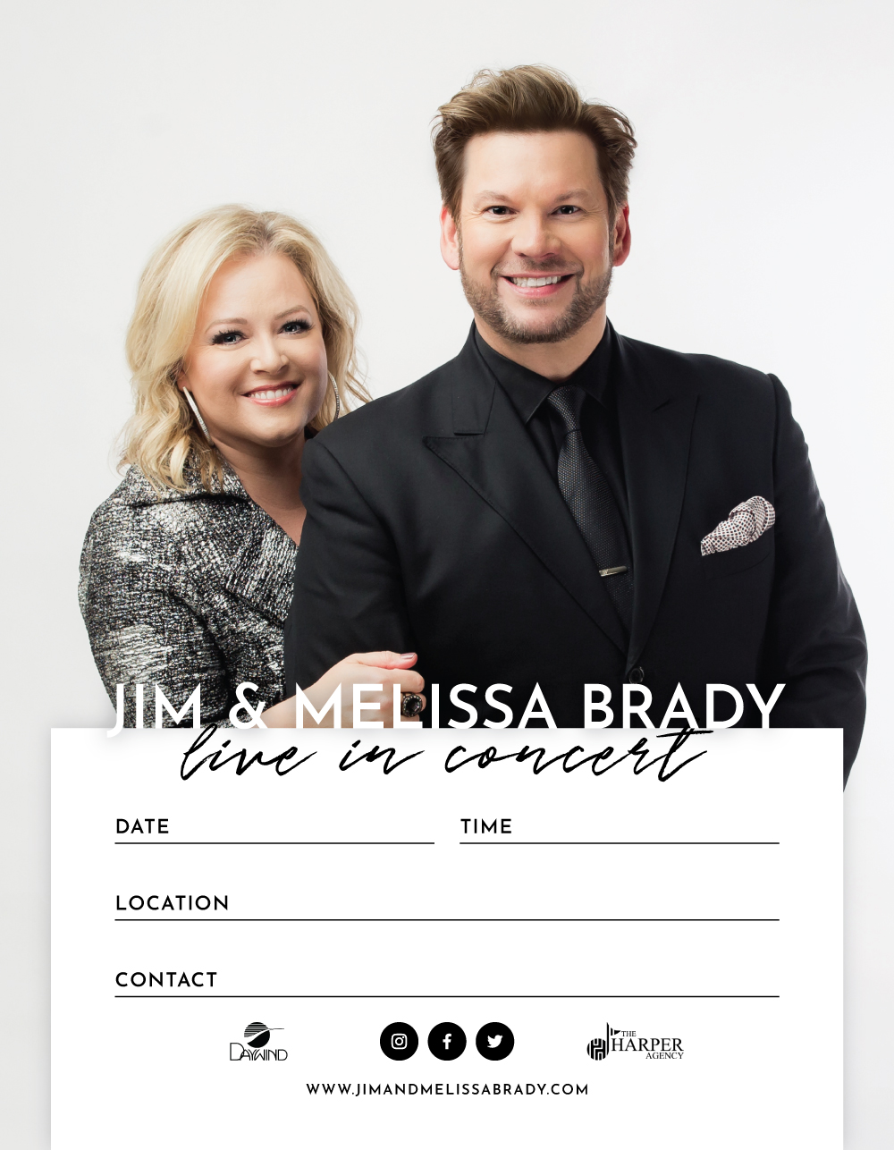 Jim and Melissa Brady | 8.5x11 Concert Poster